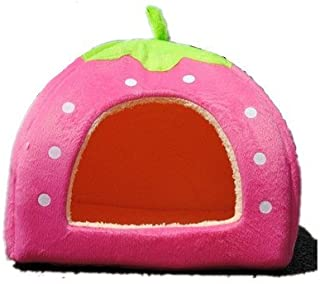 Sungpunet Strawberry Small Cotton Soft Dog Cat Pet Bed House S/m/l/XL (Pink, M) by Pet House