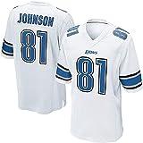 OUOT Lions Johnson 81# T-Shirts pour Homme Maillot de Rugby, Occasions applicables entraînement de compétition en Plein air Quotidien à séchage Rapide, Respirant Cadeau Broderie Sweat Unisexe