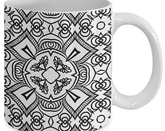 Taza de café con diseño de mandala, color me, taza de café con diseño de mandala, color me, 60