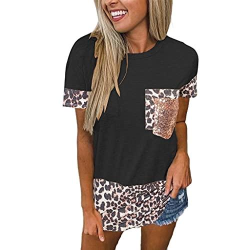 Camiseta Mujer Top Mujer Elegante Chic Moda Estampado De Leopardo Empalme Cuello Redondo Manga Corta Suelta Cómoda Casual Sexy Mujer Camisa Mujer Shirt C-Black M