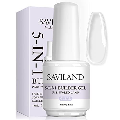 Saviland 5 in 1 Clear Builder Gels - 15ml Quick Building Nail Strengthener Gel, UV/LED Nagellack Gel für abgebrochene Nägel Reparatur Nägel Verlängerung Professionelle...