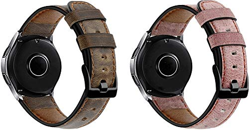 Chainfo Uhr Band 22mm, Kalbsleder Ersatz Band Uhrenarmband mit Edelstahl Faltschließe (22mm, Kaffee + Rosa)