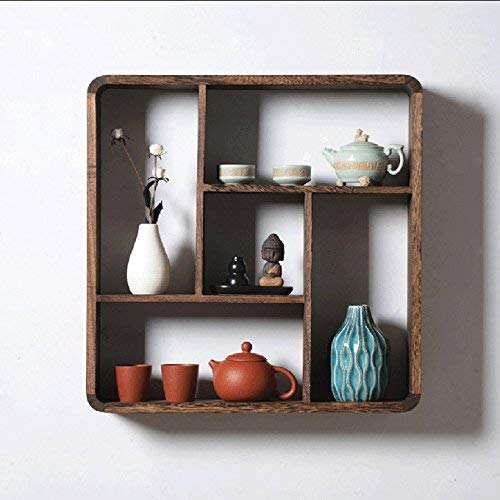 QTQZDD opslagrek massief hout vierkant rek, bruin decoratieve wand slaapkamer woonkamer vitrine 56 12 cm