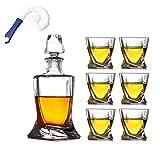 WHZG Whisky Carafe, 800ml Flasche mit 6x 300 ml Whiskyglas, schöne Kiste, 7 Stück Kristall Dekant...