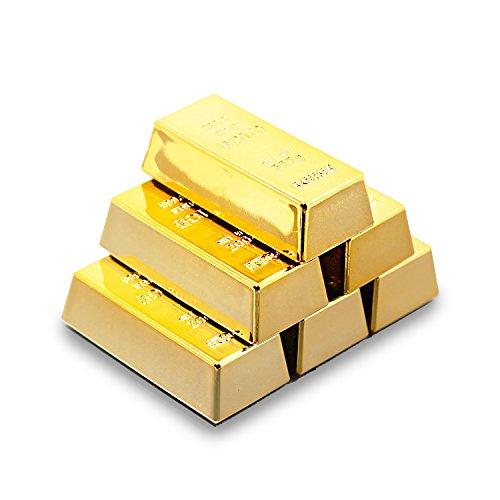 SABLUE 6x Replica Mini Gold Bar Refrigerator Magnets Fake Golden Paper Weight Brick Bullion Movie Prop Novelty Gift Joke (E0-Magnets L)
