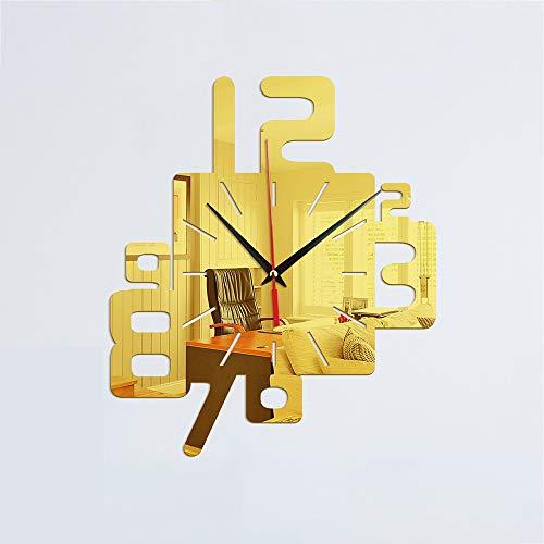 SWNN Wall Clocks Einfache Kreative Digitale Design Wanduhr Schlafzimmer Wohnzimmer Dekoration Uhr 3D Acryl Spiegel Wandaufkleber (Color : Gold)