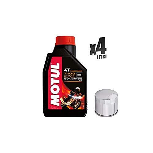 Kit Tagliando moto 4 litri olio Motul 7100 20W50 + filtro 172C