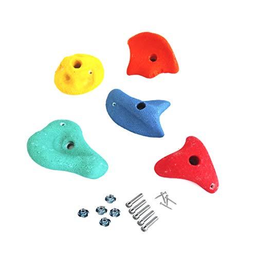 5 Stück h2i Klettersteine Klettergriffe für Kletterwand - groß - 14,3 x 14,3 cm für Kinder und Erwachsene