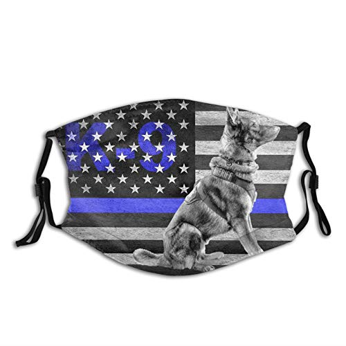 Police Dog Thin Blue Line K9 Print Face Mask-Adjustable Ear Loops|Reusable-With Filter Pocket-Unisex Gifts For Men&Women Balaclava Bandana Cloth