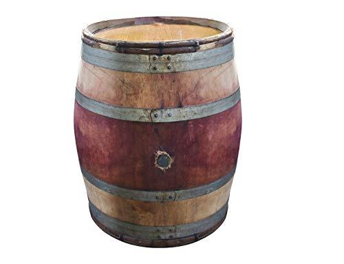 Temesso Burgunderfass, Dekofass, Stehtisch, Fass aus Eichenholz mit schwarzen Ringen und Haselnussruten als Stehtisch, 228 l