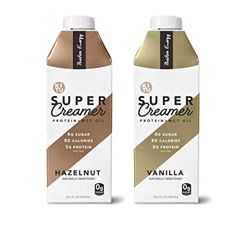 Kitu Super Creamer with Protein and MCT Oil, Keto Approved, 0g Sugar, 3 g Protein, 50 Calories, Vanilla and Hazelnut 2-Pack Variety