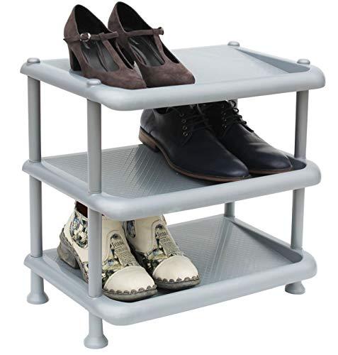DanDiBo Schuhregal Kunststoff 93900 Stapelbar Schuhablage Offen Schuhständer mit 3 Ebenen Grau Schuhschrank