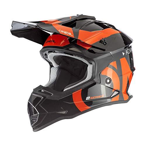 O'NEAL | Casco de Motocross | MX Enduro | ABS Shell, Estándar de Seguridad ECE 2205, Ventilación para una óptima ventilación y refrigeración | 2SRS Casco Slick | Adultos | Negro Naranja | Talla L