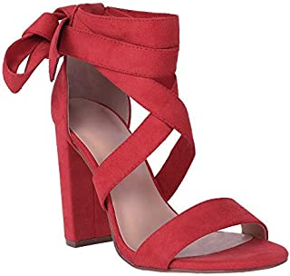 Womens Heeled Sandals Ankle Strap Open Toe Strappy Block High Heel Pumps Dress Wedding Shoes