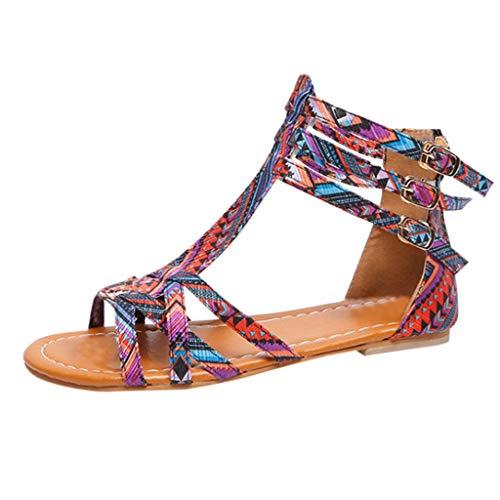 Ansenesna Sandalen Damen Sommer Flach Bunt Boho Vintage Schuhe Offen Reißverschluss Stoff Comfort Sommerschuhe (35, Lila)