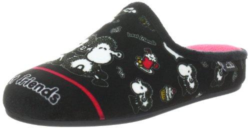 Sheepworld Mädchen 320299 Pantoffeln, Schwarz (schwarz/pink), 32 EU (14 Kinder UK)