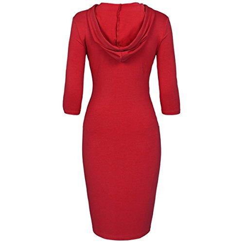 KYEYGWO Vestido con capucha para mujer, de algodón, con bolsillos, manga 3/4, corte ajustado, para primavera, otoño e invierno rojo XXL