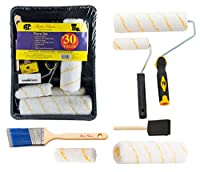 """COMPREHENSIVE SET: Package includes 11 piece: Tray, Roller Frame (9""""), 2 Roller Covers (9""""x1/2""""), Roller Frame (4""""), 2 Roller Covers (4""""x1/2""""), 2"""" Angel Paint Brush, High Density Foam Brush PROFESSIONAL QUALITY: This paint tray set is high quality in..."""