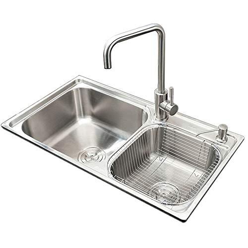 HomeLava Einbauspüle Modern Küchenspüle 304 Edelstahl Eckig Spüle 72 x 39 cm für Küche (ohne Wasserhahn)