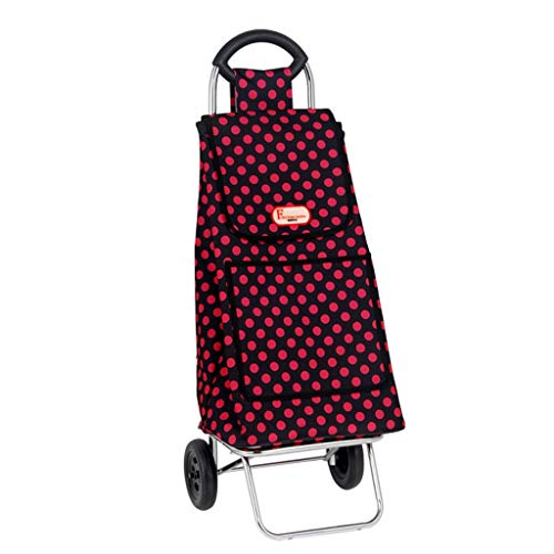 JJJJD Carro de la compra ligero plegable push-pull carro, supermercado supermercado tienda pequeño remolque equipaje carro rojo gran capacidad impermeable bolsa