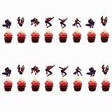 Stuzzicadenti Bandiera,Cupcake Bastoncino 24 Pezzi Uomo Ragno Cupcake Toppers Decorazione Cupcake Bambini Compleanno Matrimoni Docce per Bambini Articoli per Feste di Nozze Bomboniere Decor