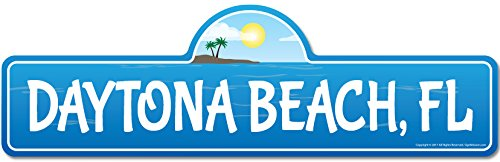 SignMission Daytona, FL Florida Beach Street Sign | Indoor/Outdoor | Surfer, Ocean Lover, Décor for Beach House, Garages, Living Rooms, Bedroom Personalized Gift