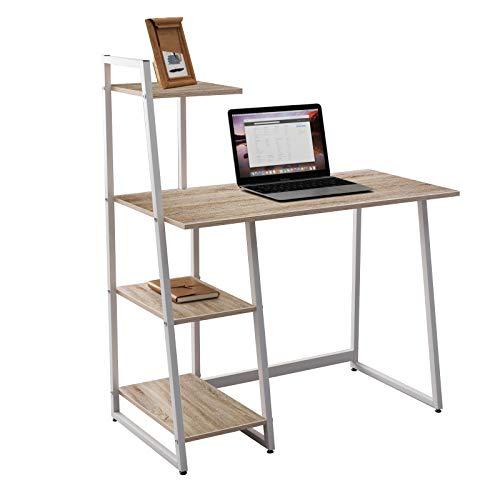 DlandHome Schreibtisch für Zuhause, kleiner Schreibtisch, Bürotisch mit 3 Ablagen, Arbeitsstall mit Ablage, Eiche