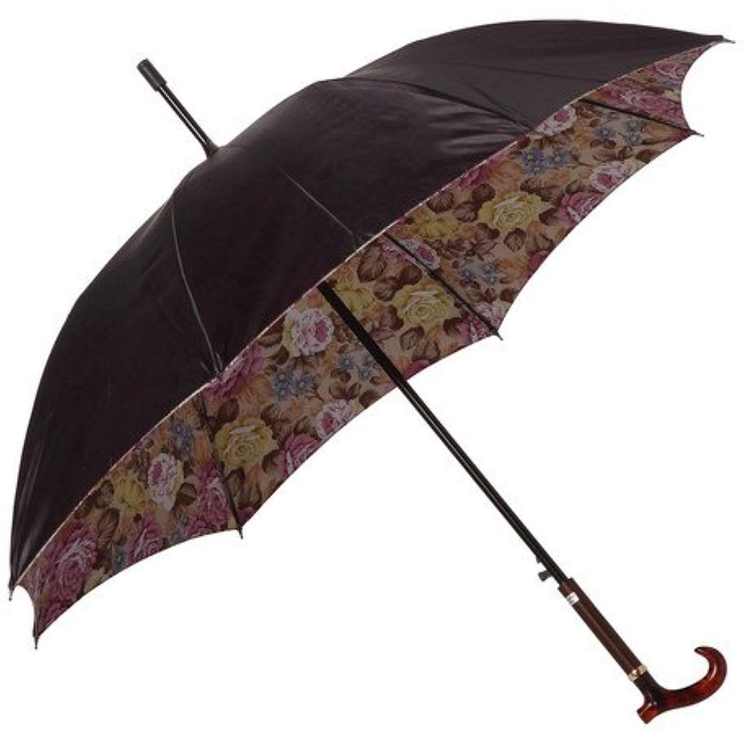 テザーダーツ狂乱日本製 高級傘 上品な サテン生地 裏転写 花柄 EAP 60cm ジャンプ傘 婦人傘