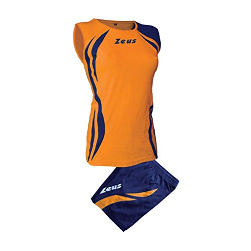 Zeus Damen Volleyball Trikot Hose Shirt Indoor Handball Training Ausbildung KIT Klima ORANGE BLAU (M)
