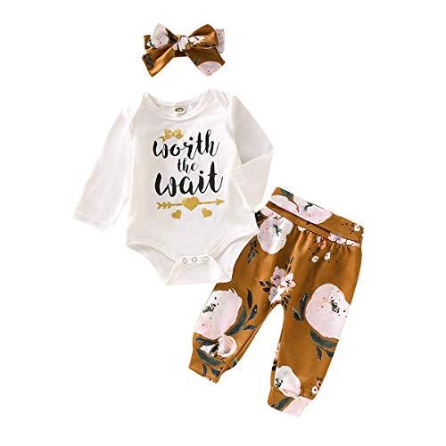 NFSQYDT Infant Baby Girl Clothes Mameluco de Manga Larga Mono Body Pantalones Conjuntos con Banda para el Cabello 3 Piezas Conjuntos 0 a 18 Meses 0 To 3 Months