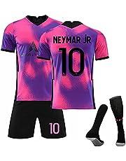 2021 Voetbalshirt # 7 Mbappé 10#Neymar # 11 Di Maria Away Game Voetbalshirt Set Korte Mouwen Shorts Pak Wk Voetbal voor Kinderen Jeugd Voetbalshirt Verjaardagscadeau