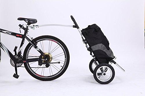 Sepnine Alloy Frame Bike Commuter Cargo Shopping Trailer with Large Size Bag 8007T (Black/Grey Bag)