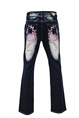 Crazy Age ÜBERGRÖßEN Damen XXL Jeans Hose Stickerei DAMENJEANS Jeanshose 42 44 46 48 50 (44, Rosa)