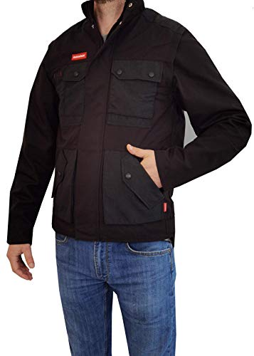 Weichers Arbeitsjacke verstärkte Nähte 340 g/m² Bundjacke Arbeitsbekleidung Herren Arbeitsschutzbekleidung Sicherheitsjacke Arbeitsweste Berufsbekleidung (106-110, 000D Schwarz)
