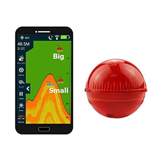 MGCD Buscador De Peces Inalámbrico Bluetooth, Dispositivo Detector De Peces De Sonar De 125 KHz con Luces De Señuelo De Peces De 2 Colores Compatible con El Sistema Apple Y Android (Color : Re