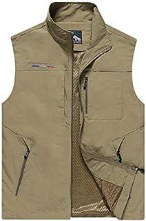 HAWEEL Men Sleeveless Stand Collar Loose Vest Multi-pockets Vest Windbreaker Jacket (Color : Khaki, Size : XXXXL)