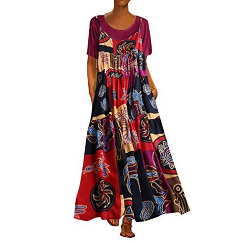 SANNYSIS Maxikleider Damen Sommerkleid Zweiteiler Kaftan Strandkleid Lang Damenkleider Boho Vintage Swing Blumenkleid Blumedrucken Freizeitkleid (4XL, Pink)
