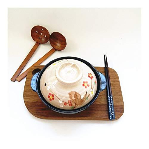 HEIFENGMUMA Crisp Painted Sakura einzigen Lithium Porzellan kleinen Ton irdenen Topf mit flachem Boden Auflauf Herd Reis 500ml Koch Koch (Color : Black)
