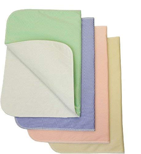 Nobles 4 Pack - Waterproof Reusable Incontinence Underpads/Washable Incontinence Bed Pads - 1 of Each Color Green, Tan, Pink and Blue Size 17x24 - Great for Adults, Kids and Pets