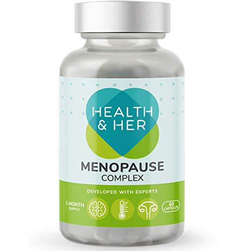 HEALTH AND HER Menopause Supplement Complex, Evening Primrose Oil, Magnesium Citrate, Selenium, Pfaffia, Dong Quai, Ginseng, Aloe Vera, Kelp, Hop Extract and Vitamins B5, B6, E, K – 1 Month Supply