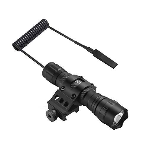 Linterna táctica LED luz de caza con alto lumen resistente al agua presión y ratón interruptor de cola cargador 45°Picatinny montaje para camping senderismo (negro)