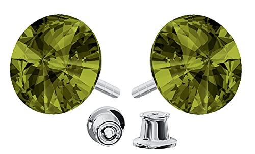 Pendientes de plata de ley 925 con cristales de Swarovski Rivoli - Olivine - Pendientes para mujer - Bonita joya para mujer con caja de regalo