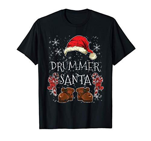Schlagzeuger Partnerlook Outfit Weihnachtsmann Drummer T-Shirt