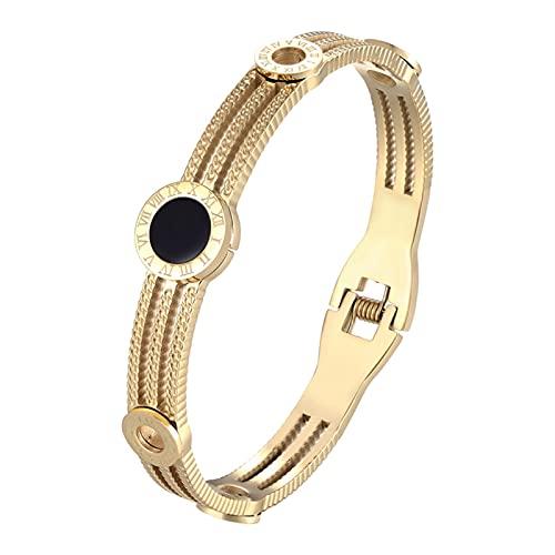 QASUF Personalizado Exquisito Pequeño Engranaje Pulsera Número Romano Pulsera de Acero Inoxidable Femenino Joyería de Moda Dailiar (Metal Color : Gold)