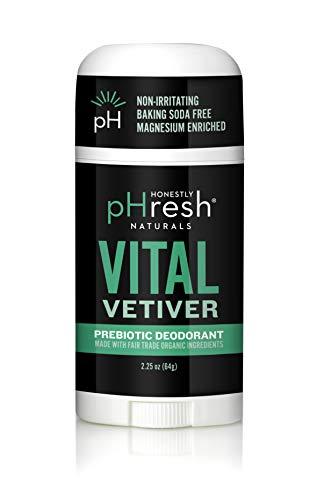 Honestly pHresh- Men's Natural Organic Deodorant | 24 Hour Odor Protection Vegan, Gluten Free, Aluminum Free & Paraben Free, Naturally Derived Ingredients Baking Soda Free Deodorant (Vital Vetiver)