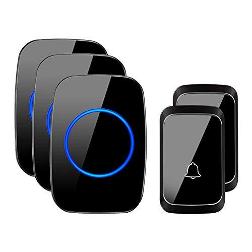 CACAZI - Timbre inalámbrico para puerta, A60, impermeable, funciona a más de 1000 pies con 1 receptor de enchufe, 58 melodías, sonido de calidad de CD, flash LED, 3x Chimes 2x Buttons, Neg
