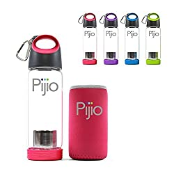 Pijio Cold Brew Coffee Maker, Infused Borosilicate Glass Bottle. Best Travel Sports Water Bottle with Neoprene Sleeve, BPA Free