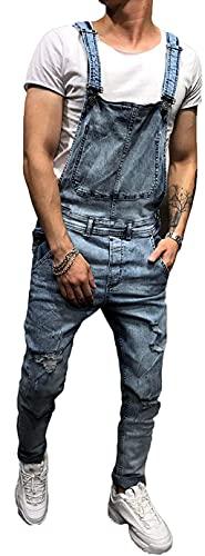Siyova Pantalones Vaqueros de Tirantes para Hombre Peto de Trabajo Hombre de Bolsillo Mono Clásico para Hombre Peto Vaquero Ajustado de Cintura Alta para Hombre (Turquesa, L)