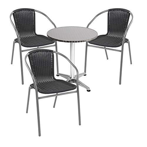 Mojawo - Juego de mesa y sillas apilables (4 piezas, aluminio, 60 x 70 x 110 cm, altura regulable, 3 sillas apilables, acero/ratán), color plateado y negro