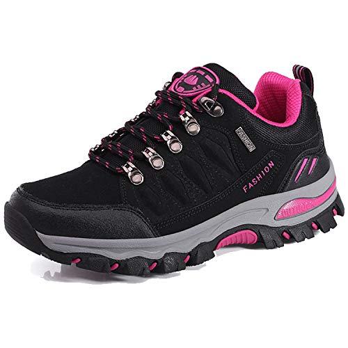 BOLOG Outdoor-Halbschuhe, Wanderschuhe, rutschfeste Kletterschuhe, leicht, atmungsaktiv, Trekkingschuhe für Damen und Herren, Schwarz - schwarz/pink - Größe: 39 EU